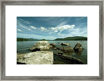Squam Lake On The Rocks Framed Print by Rick Frost