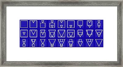 Squangle -alphabet- Grid Blueprint Framed Print by Coded Images
