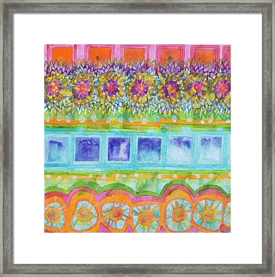 Square And Flower Lines Pattern Framed Print by Heidi Capitaine