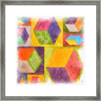 Square Cubes Abstract Framed Print