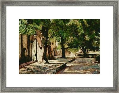 Square In Bruges Framed Print by Judy Adamson