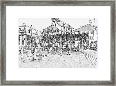 Square In Copenhagen At Nyhavn Framed Print