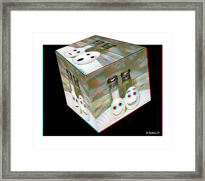 Square Meal - Use Red-cyan 3d Glasses Framed Print by Brian Wallace