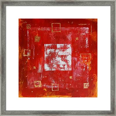 Square Red And Gold Framed Print by Kathleen Wong