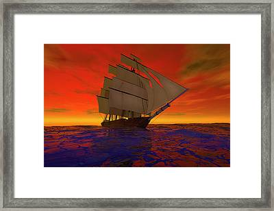 Square-rigged Ship At Sunset Framed Print