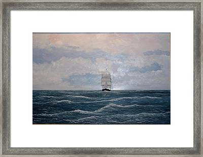 Framed Print featuring the painting Square Rigger by Ken Ahlering