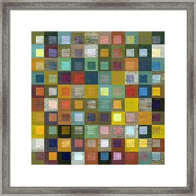 Framed Print featuring the digital art Squares In Squares Five by Michelle Calkins