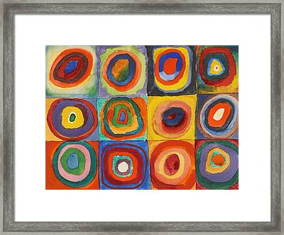 Squares With Concentric Circles Framed Print