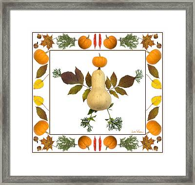 Squash With Pumpkin Head Framed Print