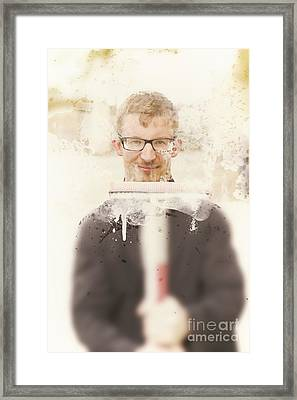 Squeaky Clean Window Washer Framed Print by Jorgo Photography - Wall Art Gallery