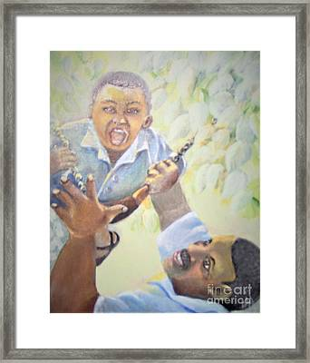 Framed Print featuring the painting Squeals Of Joy by Saundra Johnson