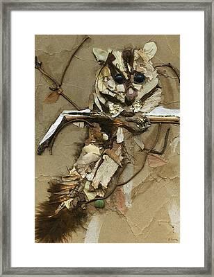 Squirrel Glider Organic Collage Framed Print