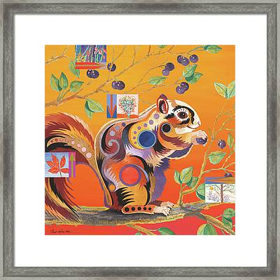 Squirrelling Away Framed Print by Bob Coonts