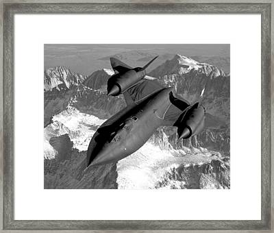 Sr-71 Blackbird Flying Framed Print by War Is Hell Store