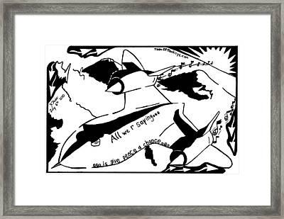 Sr-71 Blackbird Maze Cartoon By Yonatan Frimer Framed Print by Yonatan Frimer Maze Artist