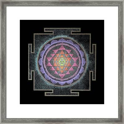 Framed Print featuring the painting Sri Yantra by Keiko Katsuta