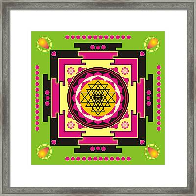 Sri Yantra Mandala Framed Print by Steeve Dubois