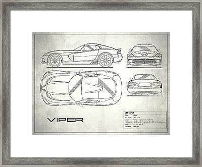 Srt Viper Blueprint Framed Print by Mark Rogan