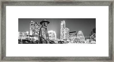 Srv Statue And Austin Skyline Black And White Panorama Framed Print by Paul Velgos