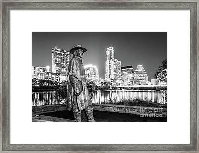 Srv Statue And Austin Skyline In Black And White Framed Print by Paul Velgos