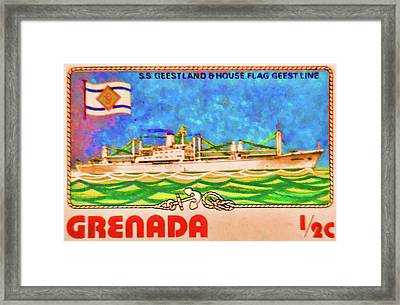 S.s Geestland And House Flag Geest Line Framed Print