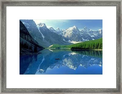 S.short Canoeist, Moraine Lake, Ab, Fl Framed Print by Steve Short