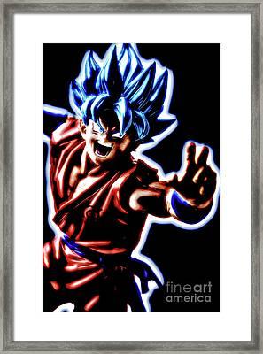 Framed Print featuring the digital art Ssjg Goku by Ray Shiu