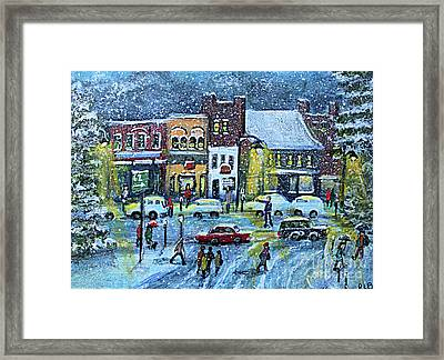 Snowing In Concord Center Framed Print