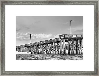 St. Andrews Pier Panama City Beach Bw  Framed Print by Debra Forand