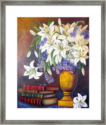 St. Anthony's Lilies Framed Print by Katia Aho