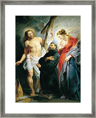 St. Augustine Between Christ And The Virgin Framed Print by Peter Paul Rubens