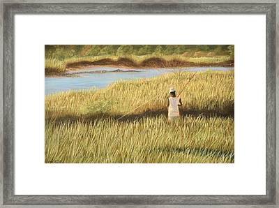 Framed Print featuring the pastel St. Augustine Fisherman by Jan Amiss