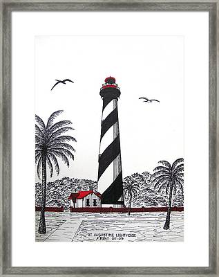 St Augustine Lighthouse Drawing Framed Print by Frederic Kohli