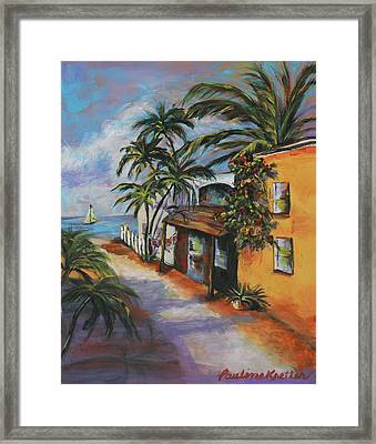 Framed Print featuring the painting St Augustine Street by Pauline  Kretler