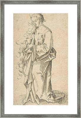 St. Barbara With A Chalice And Host Framed Print