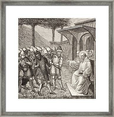 St Benedict Of Nursia Reproaches Framed Print by Vintage Design Pics