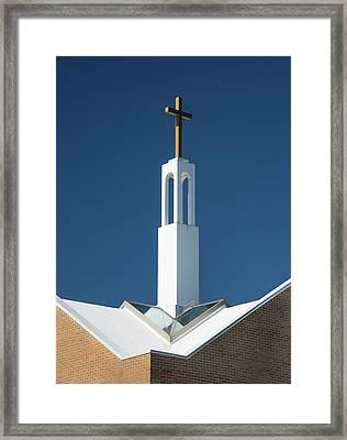 Framed Print featuring the photograph St Benedicts Church Rooftop by Gary Slawsky