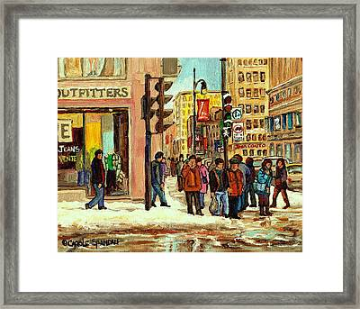 St Catherine And Peel  Downtown Montreal Framed Print by Carole Spandau