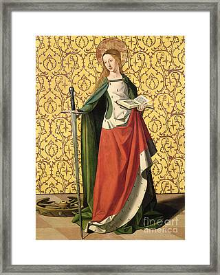 St. Catherine Of Alexandria Framed Print by Josse Lieferinxe
