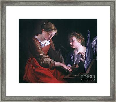 St. Cecilia And An Angel Framed Print by Granger