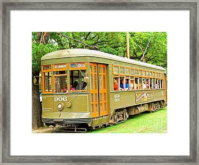 St. Charles Ave. Trolley Framed Print by Jim Sweida