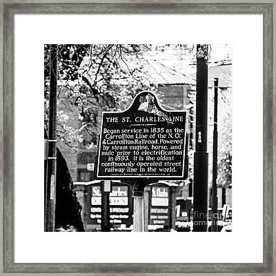 St. Charles Line Bw Framed Print