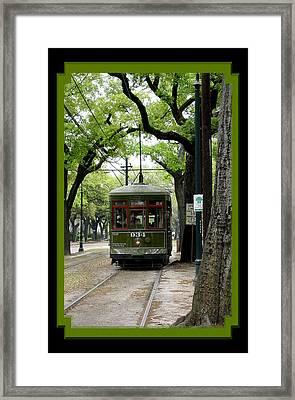 St. Charles Street Car Framed Print by Linda Kish