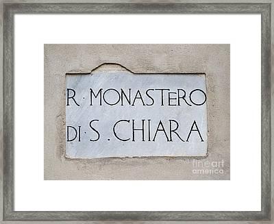 St. Chiara Monastery Framed Print by Massimo Lama