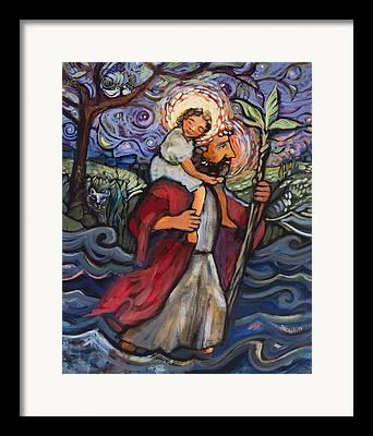 Saint Christopher Paintings Framed Prints