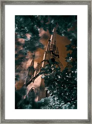 Framed Print featuring the photograph St Dunstan In The East Tower by Helga Novelli