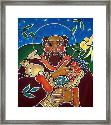 Framed Print featuring the painting St. Fiacre - Patron Of Gardeners by Jan Oliver-Schultz