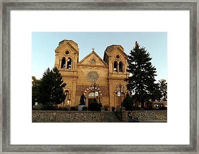 St Frances Basilica Santa Fe New Mexico With A Lone Singer  Framed Print by Jeff Swan