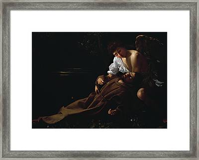 St Francis Being Comforted By An Angel After Receiving Stigmata Framed Print by Caravaggio