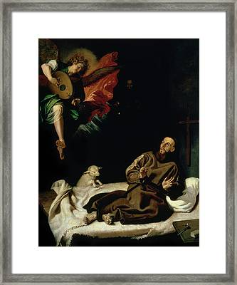 St Francis Comforted By An Angel Musician Framed Print by Francisco Ribalta